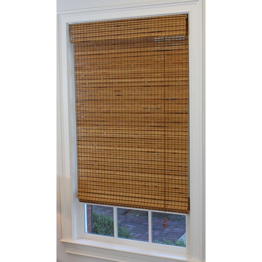 Shop Style Selections 23 in W X 72 in L Pecan Light Filtering Bamboo Natural Roman Shade At