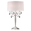 Ok 29.5-in Satin Chrome Touch On/Off Indoor Table Lamp with Fabric Shade