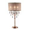 Ok 35-in Brushed Bronze Touch On/Off Indoor Table Lamp with Fabric Shade