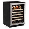 MARVEL 45-Bottle Black Cabinet Stainless Steel and Glass Door Wine Chiller