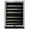 MARVEL 44-Bottle Black Cabinet Stainless Steel and Glass Door Dual Zone Cooling Wine Chiller