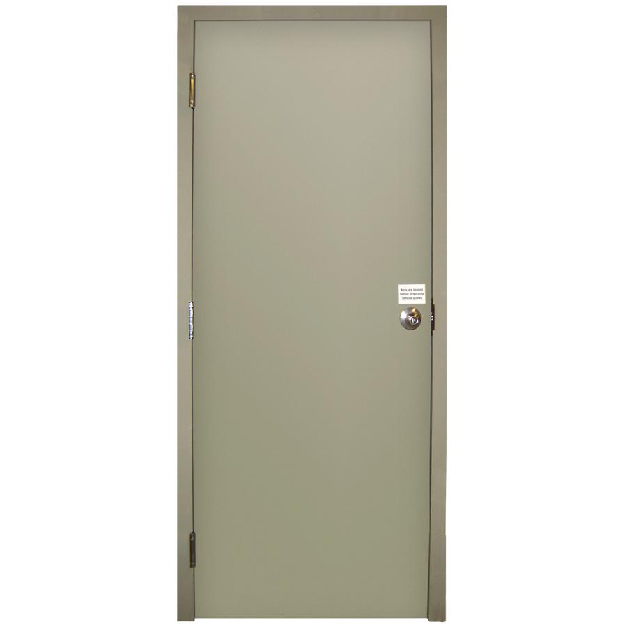 Shop milliken fire resistant flush prehung inswing steel entry door common 36 in x 80 in - Exterior steel doors ...