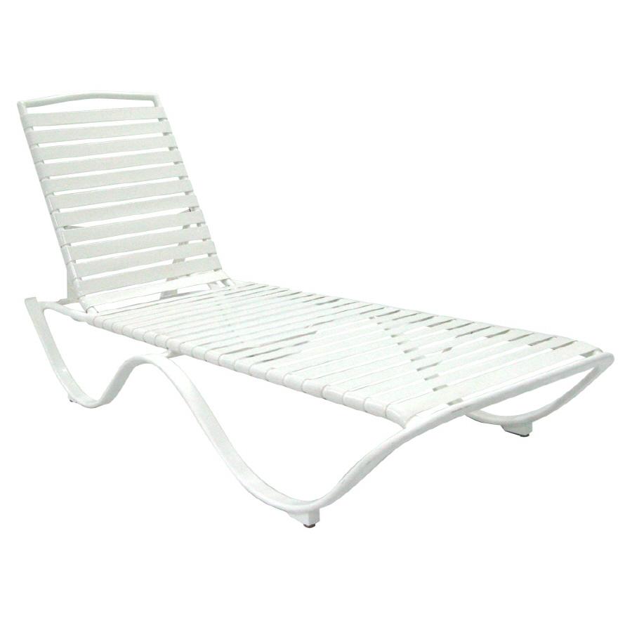 Shop garden treasures strap seat aluminum patio chaise for Aluminum strap chaise lounge
