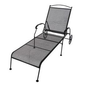 Garden Treasures Hanover Mesh Seat Wrought iron Patio Chaise Lounge