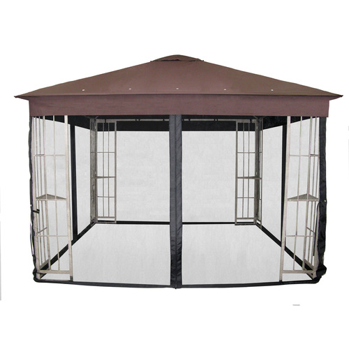 Metal garden treasures gazebo from lowes with insect net - Insect netting for gazebo ...