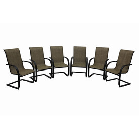 treasures set of 6 hayden island brown sling steel patio dining chair