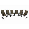 Garden Treasures Set Of 6 Hayden Island Brown Sling Steel Patio Dining Chair