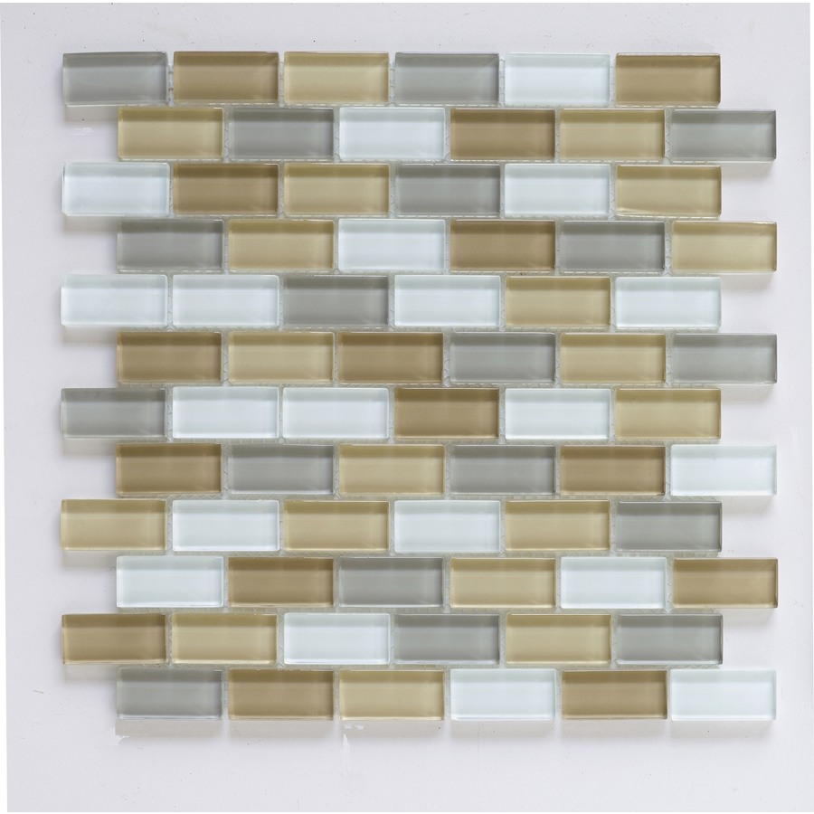 Kitchen Backsplash Tile At Lowes: Shop Interceramic 12-in X 12-in Shimmer Blends Haze Glass