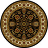 Home Dynamix Paris 5-ft 2-in x 5-ft 2-in Round Black Floral Area Rug