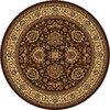 Home Dynamix Brussels 5-ft 2-in x 5-ft 2-in Round Tan Floral Area Rug