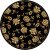 Home Dynamix Dublin 5-ft 2-in x 5-ft 2-in Round Black Floral Area Rug