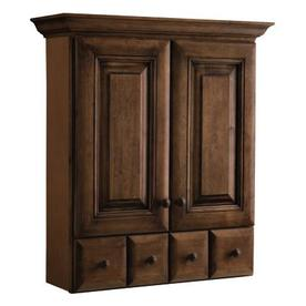 allen + roth Ballantyne 28.39-in W x 31.28-in H x 9.19-in D Mocha with Ebony Glaze Birch Bathroom Wall Cabinet