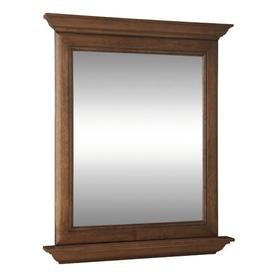 allen + roth Ballantyne 30-in W x 34-in H Mocha with Ebony Glaze Rectangular Bathroom Mirror