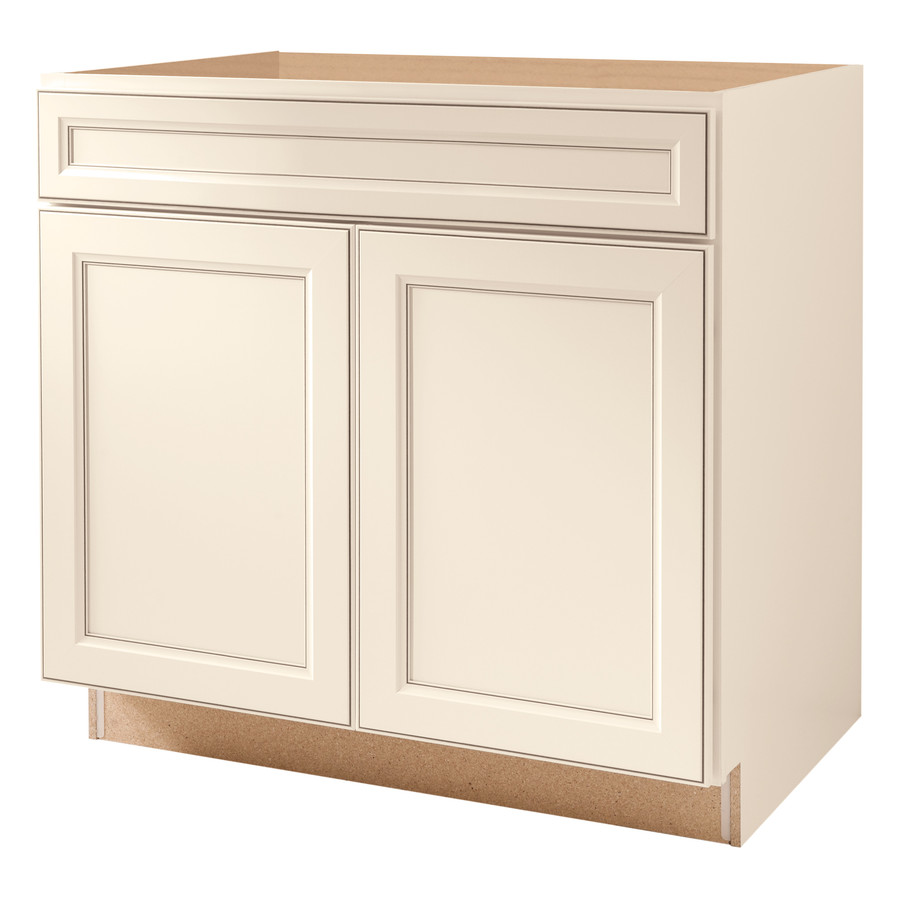 Shop kitchen classics 36 in caspian white sink base for Kitchen base cabinets