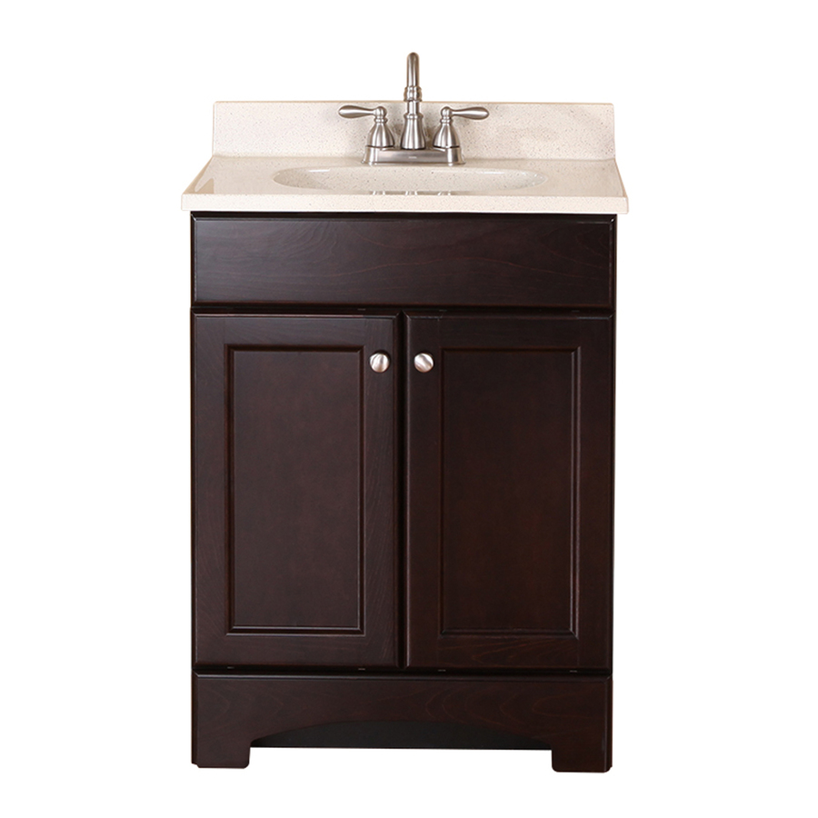 Shop style selections clementon cocoa integral single sink bathroom vanity with cultured marble - Cultured marble bathroom vanity tops ...