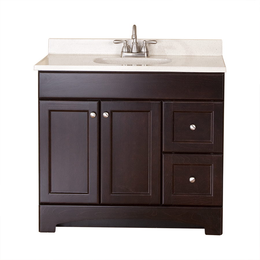 Shop style selections clementon cocoa integral single sink - Lowes single sink bathroom vanity ...