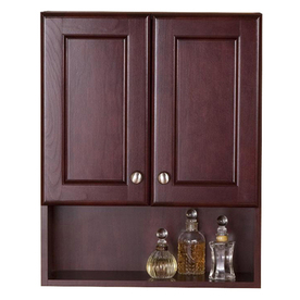 Shop Style Selections Clementon 20 5 In W X 25 6 In H X 7 9 In D Cherry Bathroom Wall Cabinet At