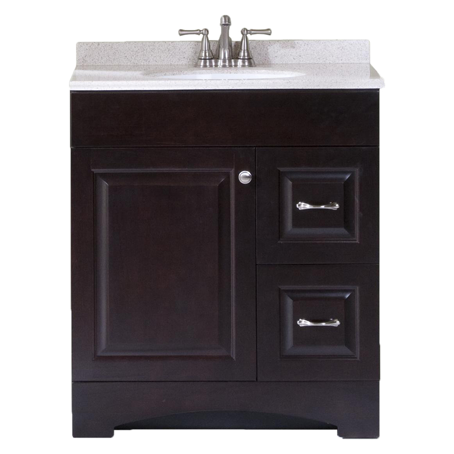 Shop style selections espresso integral single sink bathroom vanity with cultured marble top - Cultured marble bathroom vanity tops ...