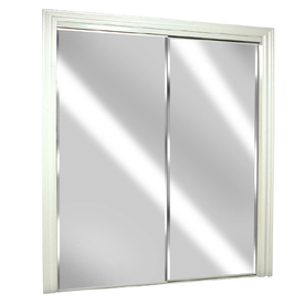 ReliaBilt 72-in x 80-in White Mirrored Interior Sliding Door