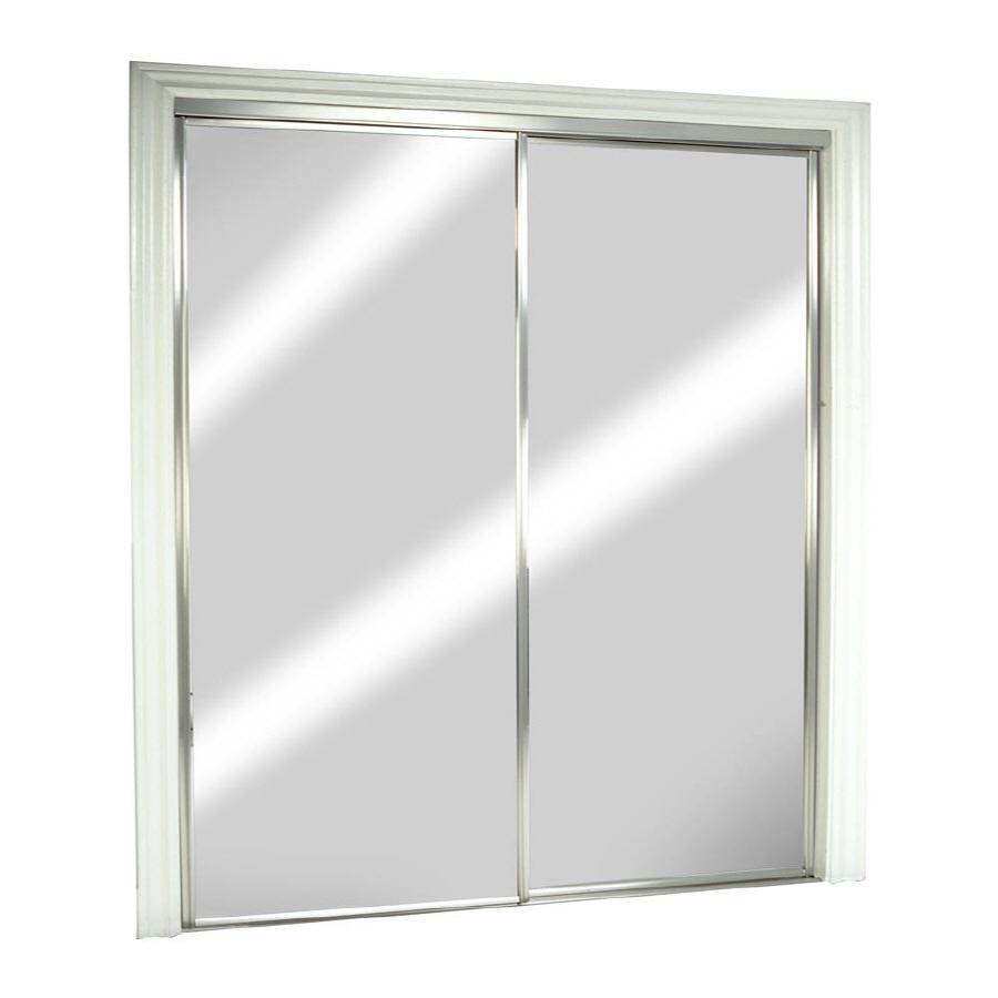 Shop Reliabilt Frameless Mirrored Sliding Door Common 60 In X 80 5 In Actual 60 In X 80
