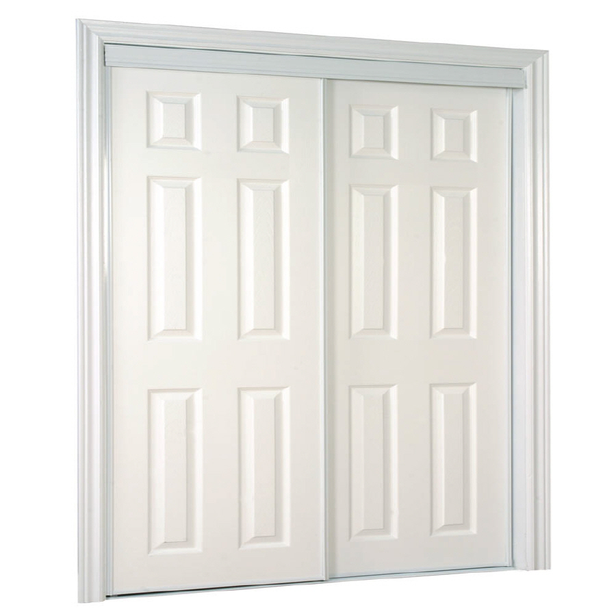 Shop ReliaBilt White 6 Panel Sliding Door Common 60 In X 80 5 In