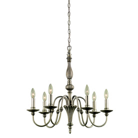 Portfolio 26-in 6-Light Antique Silver Standard Chandelier