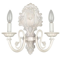 Shop Style Selections 11.63-in W 2-Light Antique White Candle Hardwired Wall Sconce at Lowes.com