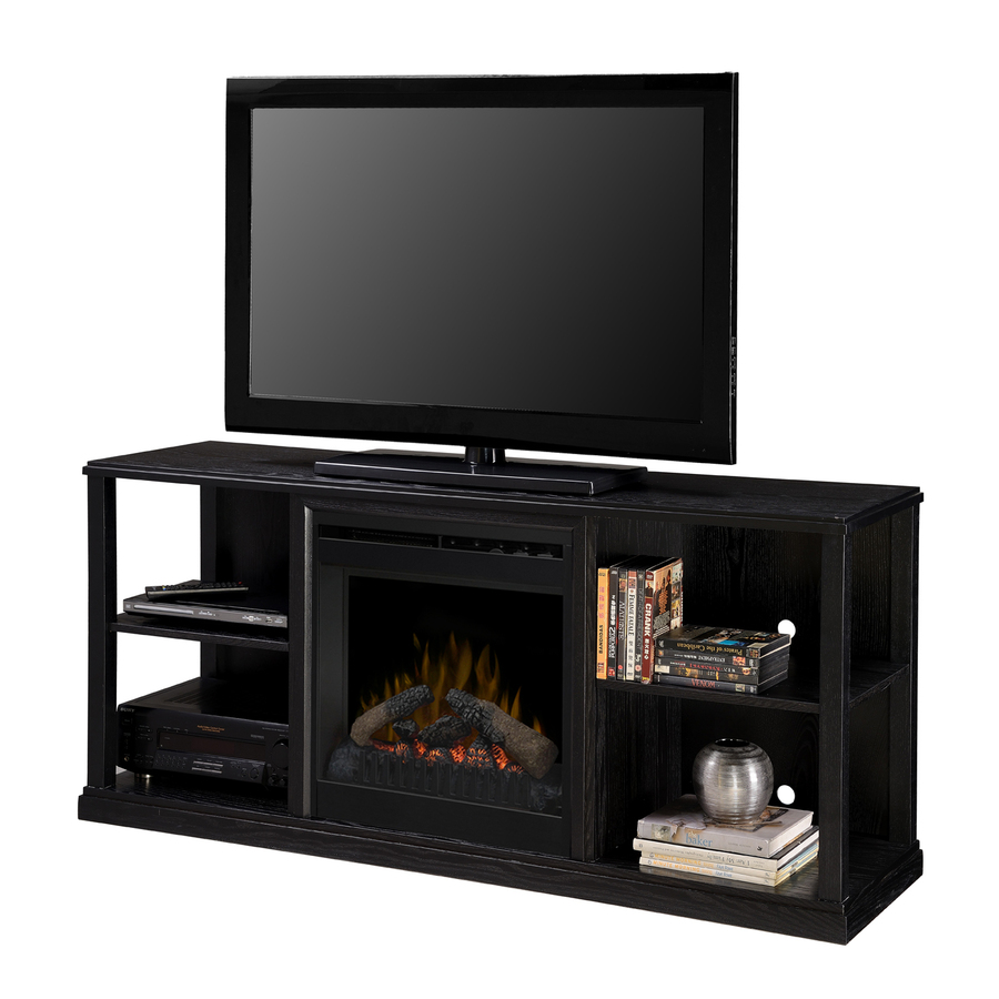 Shop Dimplex 61 In W Black Ash Wood Media Console Electric Fireplace With Thermostat And Remote
