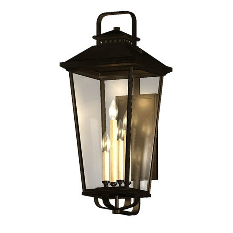 Shop Allen Roth Parsons Field 27 In H Black Outdoor Wall Light At