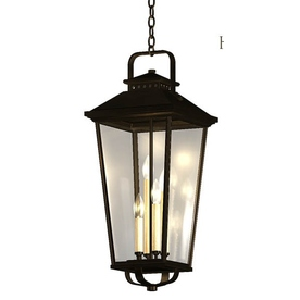allen + roth Parsons Field 27-in Black Outdoor Pendant Light