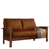 Home Sonata Oak Microsuede Stationary Loveseat