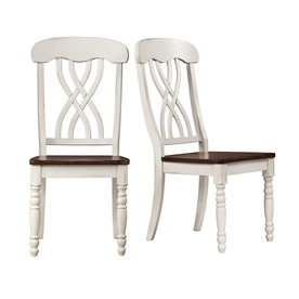 Home Sonata Set of 2 White and Cherry Dining Chairs