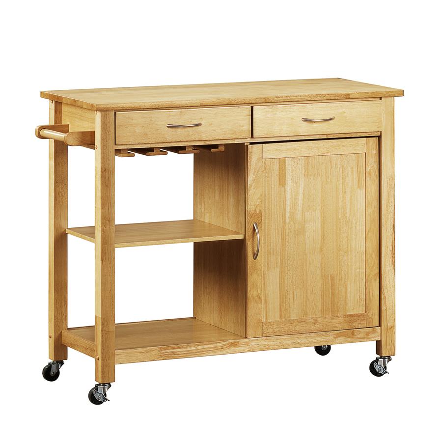 Shop Home Sonata Natural Rectangular Kitchen Cart At