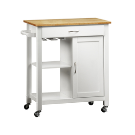 Home Sonata White/Natural Rectangular Kitchen Cart