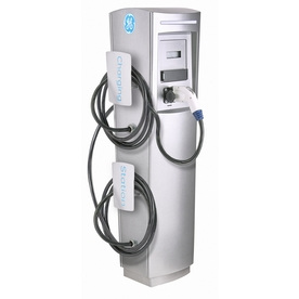 GE Durastation Level 2 30-Amp Freestanding Dual Electric Car Charger with RFID