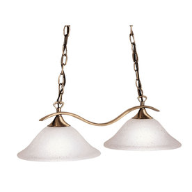 Portfolio 2-Light Antique Brass Island Light with Frosted Shade
