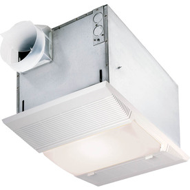 NuTone 4-Sone 70-CFM Polymeric White Bathroom Fan with Integrated Heater Incandescent and Light