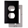 Pass & Seymour/Legrand 1-Gang Black Standard Duplex Receptacle Thermoplastic Wall Plate