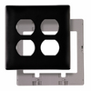 Pass & Seymour/Legrand 2-Gang Black Standard Duplex Receptacle Thermoplastic Wall Plate
