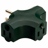 Pass & Seymour/Legrand Single-to-Triple Green 3-Wire Grounding Adapter