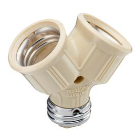 Pass & Seymour/Legrand 15-Amp 250-Volts, 660Watts Single to Twin Light Socket Adapter Ivory