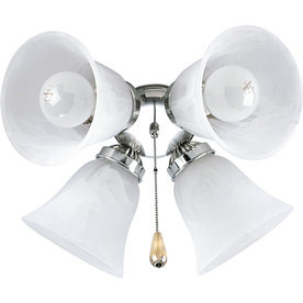 Progress Lighting Airpro 4-Light Brushed Nickel Incandescent Ceiling Fan Light Kit with Alabaster Shade