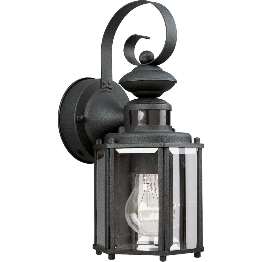 sensor 13 in h black motion activated outdoor wall light at. Black Bedroom Furniture Sets. Home Design Ideas