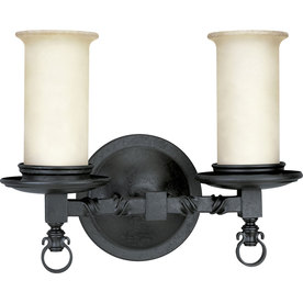 Shop Progress Lighting 2-Light Santiago Forged Black Bathroom Vanity Light at Lowes.com