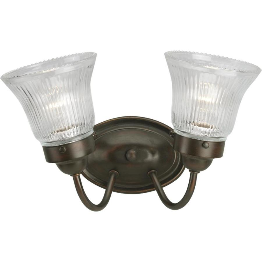 Bronze Vanity Lights With Clear Glass : Shop Progress Lighting 2-Light Fluted Glass Antique Bronze Bathroom Vanity Light at Lowes.com