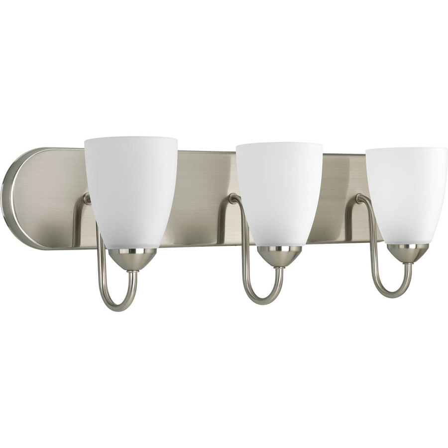 lighting 3 light gather brushed nickel bathroom vanity light at lowes. Black Bedroom Furniture Sets. Home Design Ideas