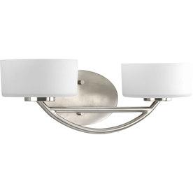 Shop Progress Lighting 2 Light Calven Brushed Nickel Bathroom Vanity Light At