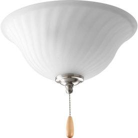 Progress Lighting Kensington 3-Light Brushed Nickel Incandescent Ceiling Fan Light Kit with Etched Glass