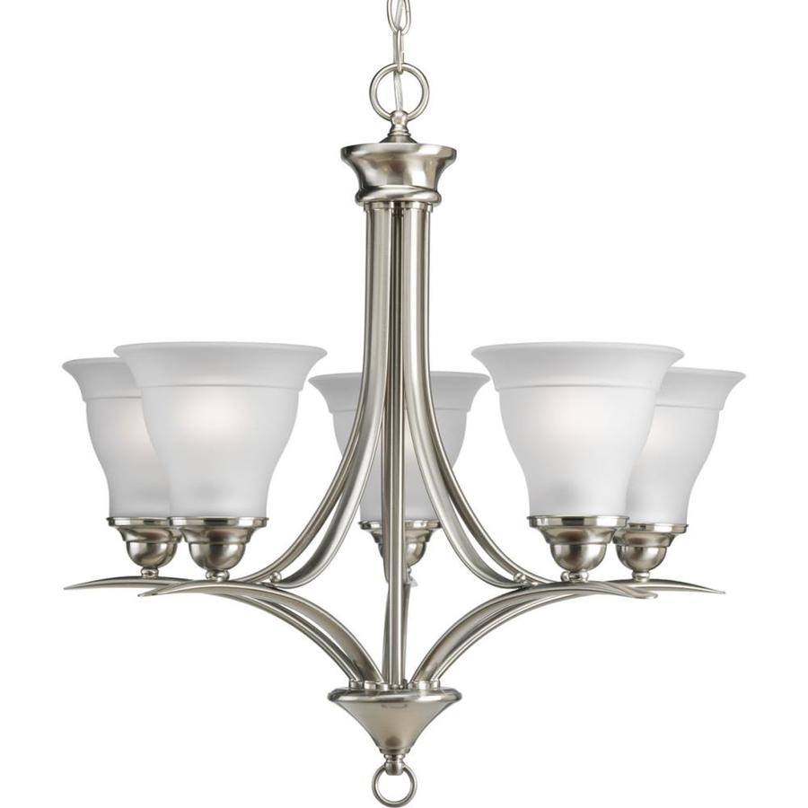 zoom in progress lighting trinity 5 light brushed nickel chandelier