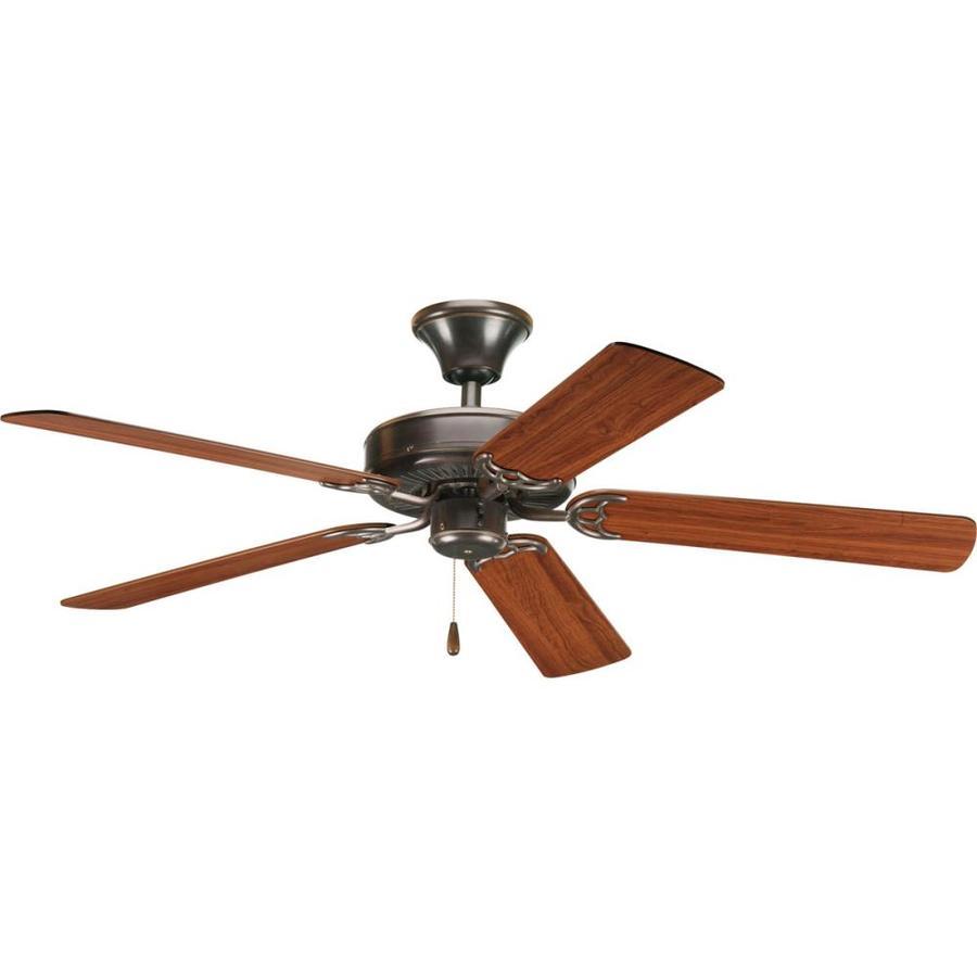 Shop progress lighting airpro 52 in antique bronze downrod or flush mount ceiling fan energy - Vintage ceiling fan with light ...